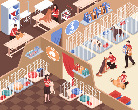 Animal shelter with staff volunteers rooms for dogs and cats vet service isometric vector illustration