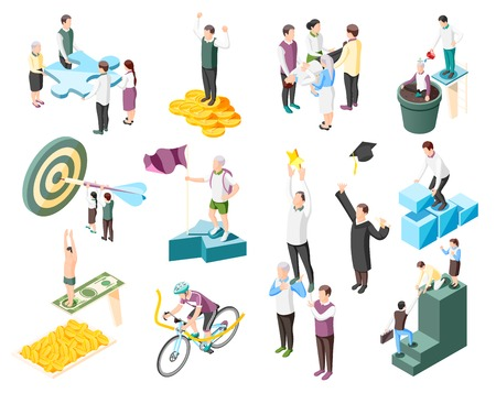 Success concept isometric icons collection with isolated human characters of successful people and goal conceptual icons vector illustration