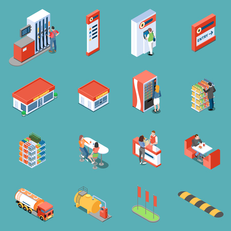 Infrastructure of gas station and services for clients isometric icons on turquoise background isolated vector illustration
