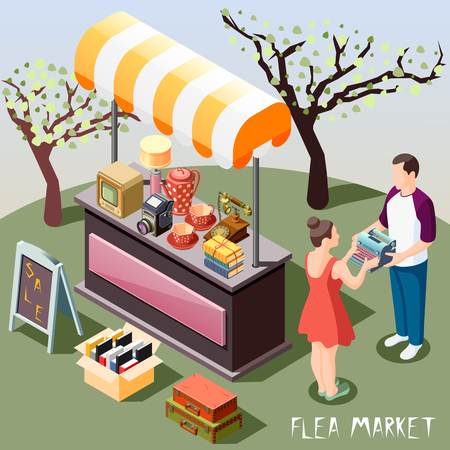 Isometric background with people and different objects at outdoor flea market 3d vector illustration