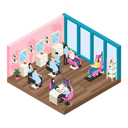 Beauty salon isometric composition with staff and customers hair dressing and manicure services vector illustration Illustration