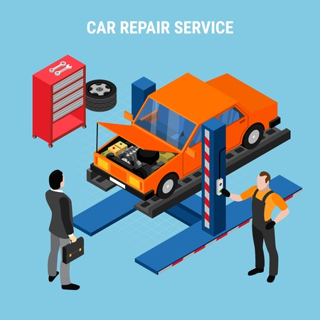 Car service isometric concept with diagnostics and tools symbols vector illustration Banque d'images - 114346336