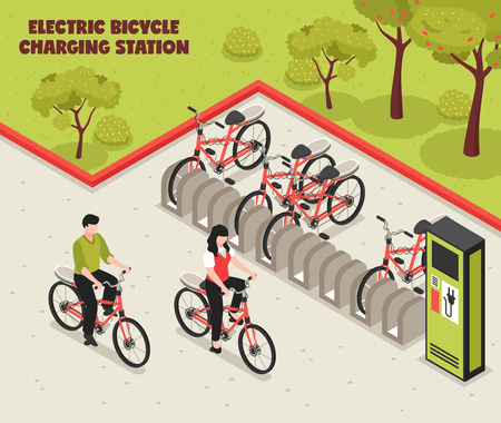 Il poster isometrico di trasporto ecologico ha illustrato la stazione di ricarica per biciclette elettriche con biciclette in piedi sul parcheggio per l'illustrazione vettoriale