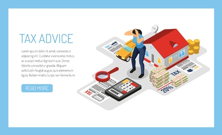 Personal tax advice online service concept isometric web page design with homeowner property income declaration vector illustration Stock Vector - 114346338