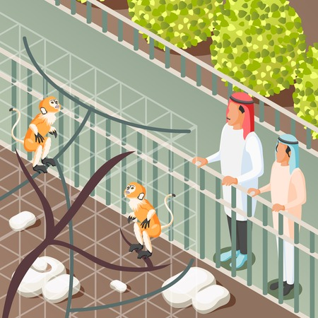 Isometric background with arabic family looking at monkeys in zoo 3d vector illustration