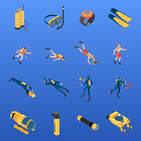 Set of isometric icons human characters with scuba diving equipment isolated on blue background vector illustration