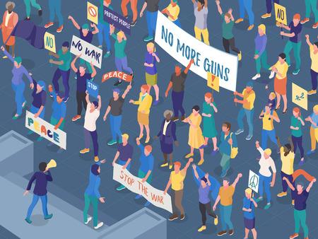 Multitud de personas que protestaban con pancartas durante la acción callejera contra la guerra ilustración vectorial horizontal isométrica