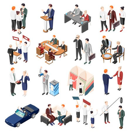 Politicians during debates conference and election campaign voters and supporters set of isometric icons isolated vector illustration  イラスト・ベクター素材