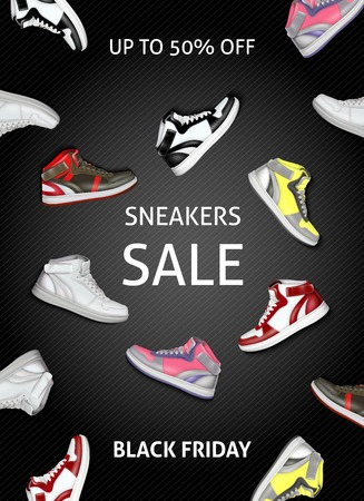 Black friday sale poster with colorful sneakers on dark background flat vector illustration