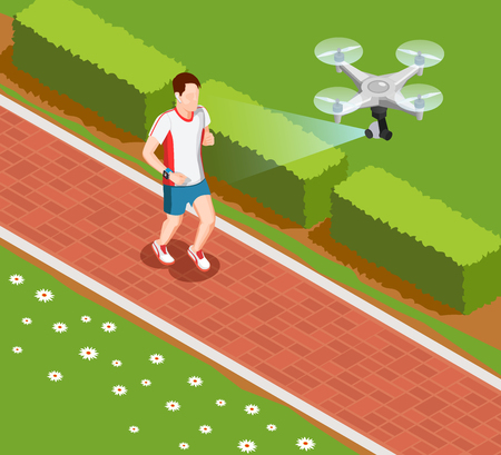 Overhead drone camera providing valuable coaching data in sport training isometric composition with runner vector illustration Illustration
