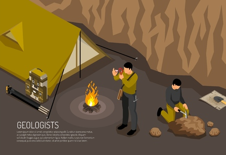 Geologists research fieldwork camp horizontal isometric composition with tent campfire rock samples exploration handtools kit vector illustration 向量圖像