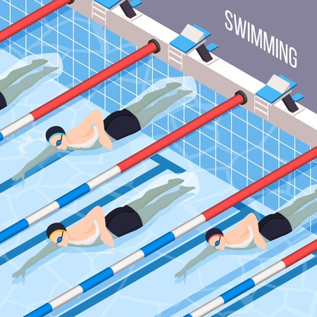 Swimming pool isometric background for people interested in sports vector illustration