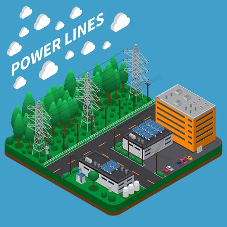 Composición isométrica de transmisión de energía eléctrica con línea aérea de alto voltaje en grandes torres de metal altas ilustración vectorial