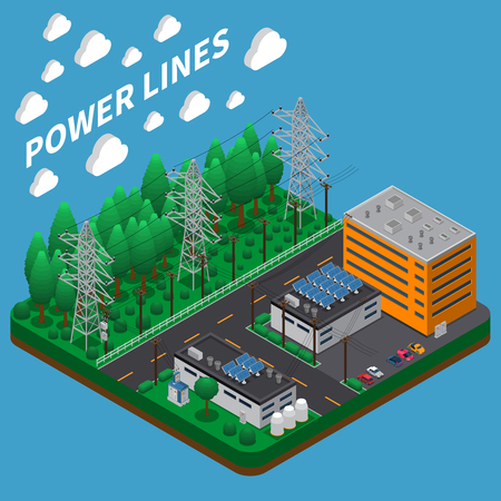 Electric power transmission isometric composition with overhead high voltage line on big tall metal towers vector illustration