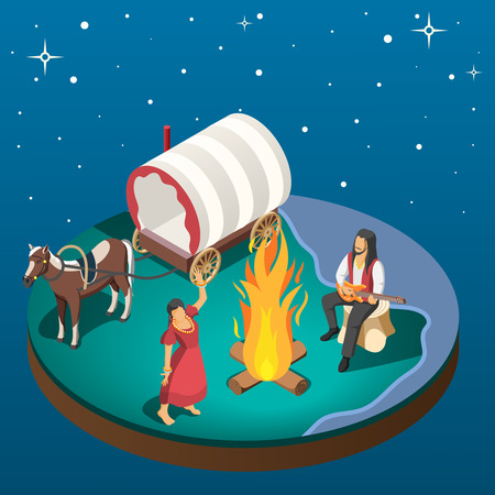 Gypsy overnight stay composition with gypsies dancing around campfire near horse harnessed to wagon isometric vector illustration