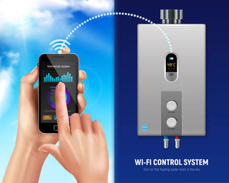 Colored realistic water heater smart banner smartphone and water heater with wifi in smart home vector illustration