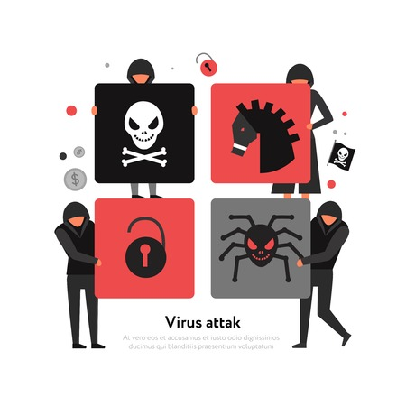 Hackers and threats of computer security on square puzzle elements white background flat vector illustration Vecteurs