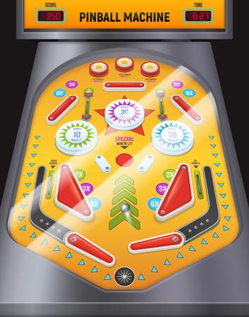 Farbige und Cartoon-Flipper-Maschinen-Kompositionsspielmaschine in der Unterhaltungszentrum-Vektorillustration