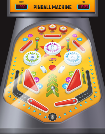 Colored and cartoon pinball machine composition game machine in the entertainment center vector illustration
