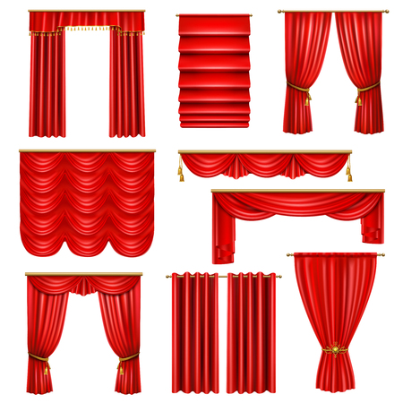 Set of realistic luxury red curtains of various design on cornices with golden elements isolated vector illustration