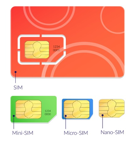 Realistic sim cards icon set with different types mini micro and nano sim vector illustration Imagens - 114519387