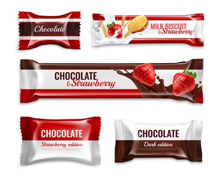 Caramelos de chocolate y galletas diseño de empaque realista con deliciosos ingredientes de fresa de leche colorida ilustración vectorial aislada