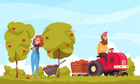 Gardening human characters with tractor during apples harvesting on blue sky background cartoon vector illustration Illustration
