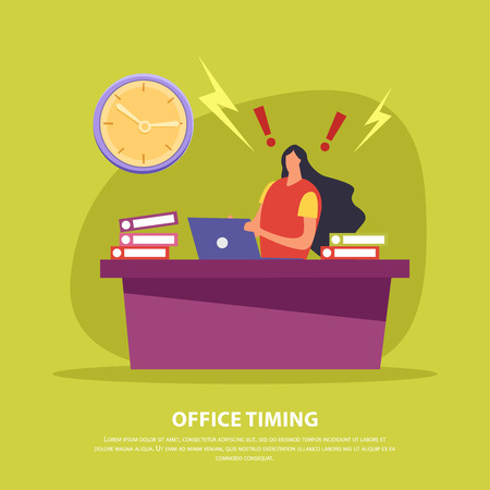 Office employee during hard work in deadline on green background flat vector illustration