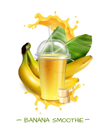 Fresh ripe banana smoothie healthy drink realistic composition with transparent disposal mug straw splash leaves vector illustration