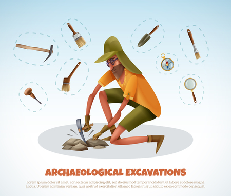 Archeology background with doodle style man digging ground and isolated pieces of excavation equipment with text vector illustration