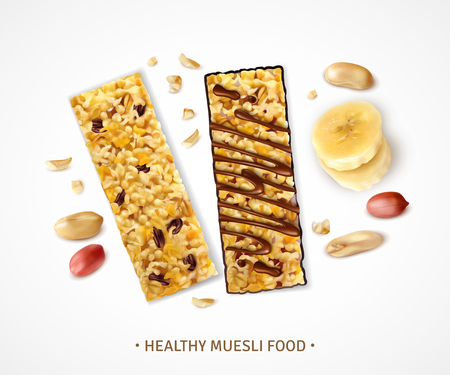 Realistic muesli background with sweet bars of granola with banana slices and pieces of peanut beans vector illustration Illustration