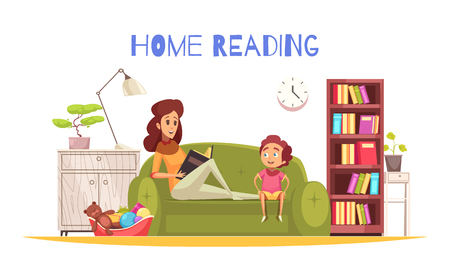 Home reading background with bookshelf lamp and sofa flat vector illustration