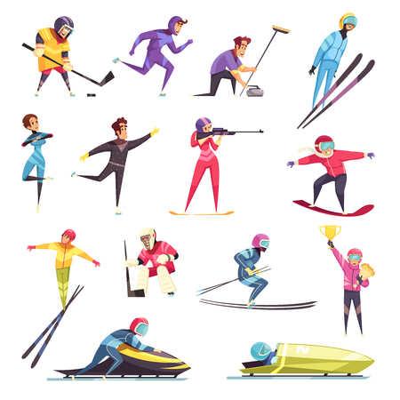 Winter sports set with skiing snowboarding and skating flat isolated vector illustration 일러스트