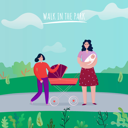 Mom with kids during walk in park on nature background flat vector illustration