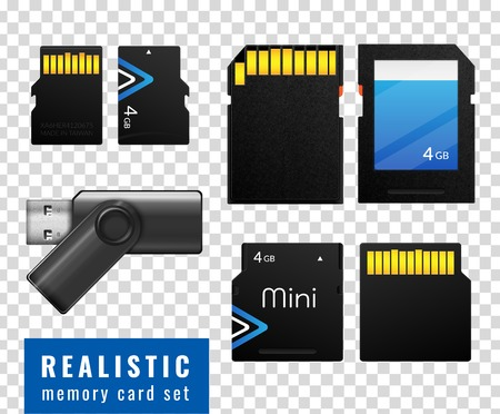 Realistic memory card transparent icon set with black isolated squares on white background vector illustration Illustration