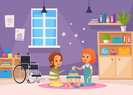 Inclusion inclusive education cartoon composition two children sit in the room and playing vector illustration Illustration
