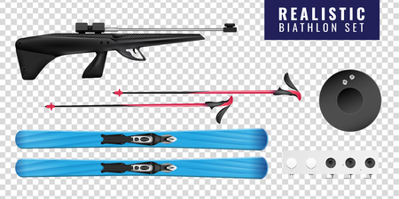 Colored realistic biathlon transparent horizontal icon set with ski gun and target vector illustration Ilustração