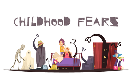 Childhood fears concept with ghosts monsters and clowns symbols vector illustration