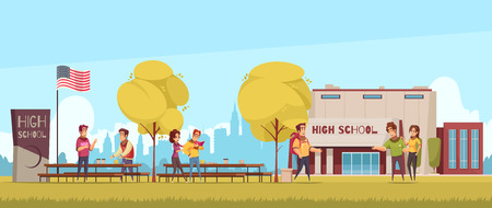 High school territory with educational building students during communication on blue sky background cartoon vector illustration