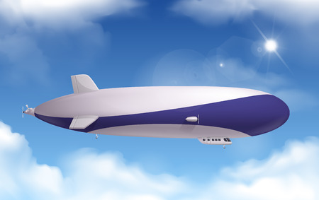Dirigible transportation realistic background with sky and clouds vector illustration