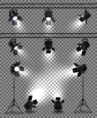 Spotlights set with realistic images on transparent background with metal body spot lights and mounting equipment vector illustration
