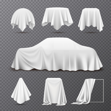 White silk cloth covered objects realistic set with draped car hanging napkin tablecloth curtain transparent vector illustration Illustration