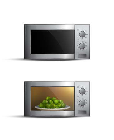 Set of realistic microwave ovens with food inside isolated on white background vector illustration Illustration