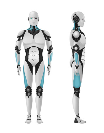 Robot realistic 3d composition with set of front and side views of masculine droid vector illustration