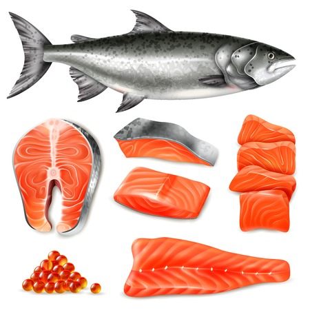 Salmon fish raw steaks and caviar icons set isolated on white background realistic vector illustration Иллюстрация