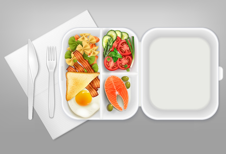 Opened disposable lunchbox with salmon salad bacon egg knife fork white plastic tableware realistic composition vector illustration