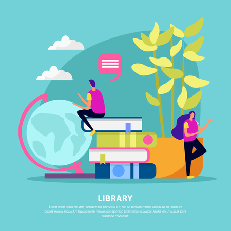 Library flat composition with human characters books house plant and globe on turquoise background vector illustration