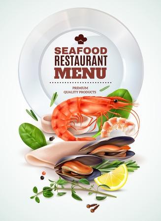 Affiche réaliste de menu de restaurant de fruits de mer avec crevettes calmars moules herbes fraîches épices cocktail marin ingrédients illustration vectorielle
