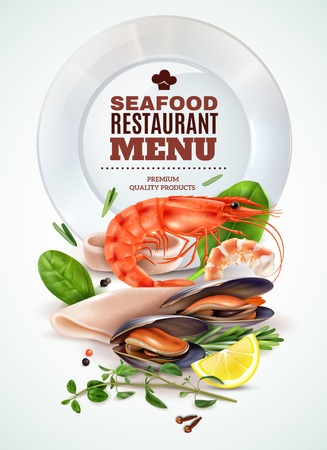 Seafood restaurant menu realistic poster with shrimp squid mussels fresh herbs spices marine cocktail ingredients vector illustration