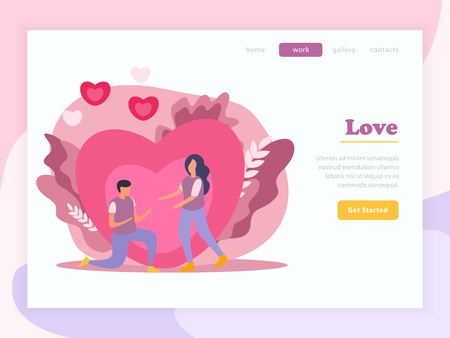 Love couple flat landing page composition with love headline and yellow button get started vector illustration